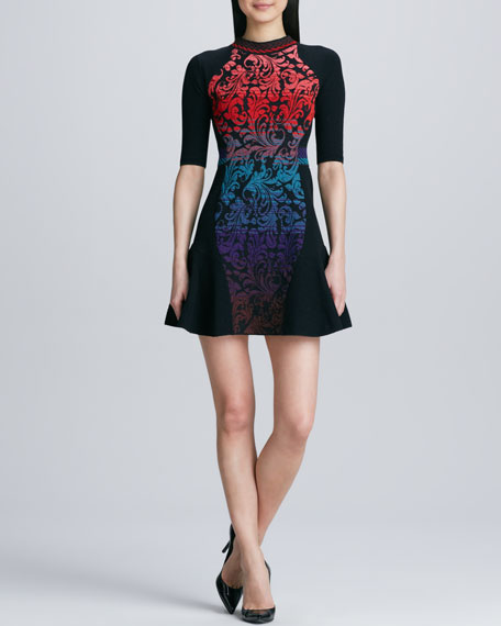 Intarsia Brocade Fit-and-Flare Dress
