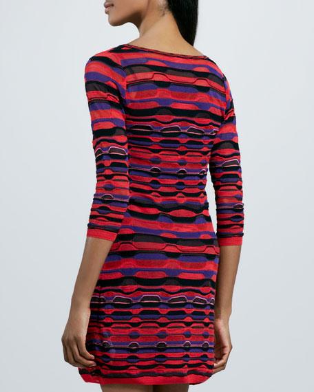 Ladder-Stripe Long-Sleeve Dress