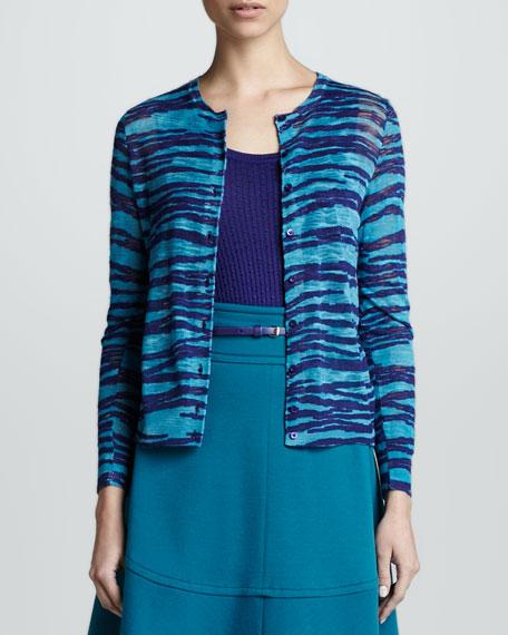 Zebra-Print Double Knit Cardigan