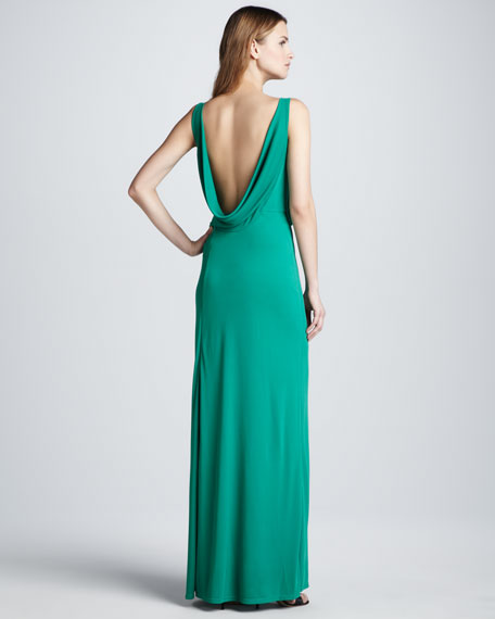 Cowl-Neck Drape-Back Gown