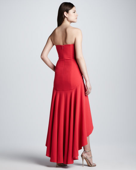 Strapless High-Low Flounced-Hem Gown