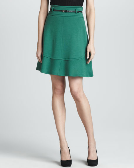 Leaf Wool A-line Skirt