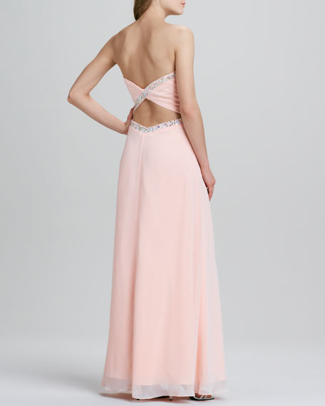 Strapless Beaded-Trim Open Back Gown