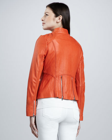 Bull's Eye Shoulder Leather Jacket