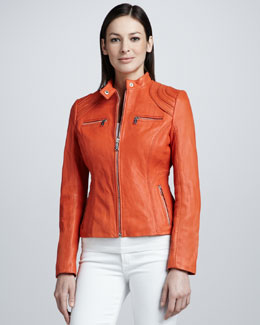 Neiman Marcus Bull's Eye Shoulder Leather Jacket