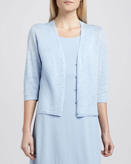 Cropped Lightweight Linen Cardigan