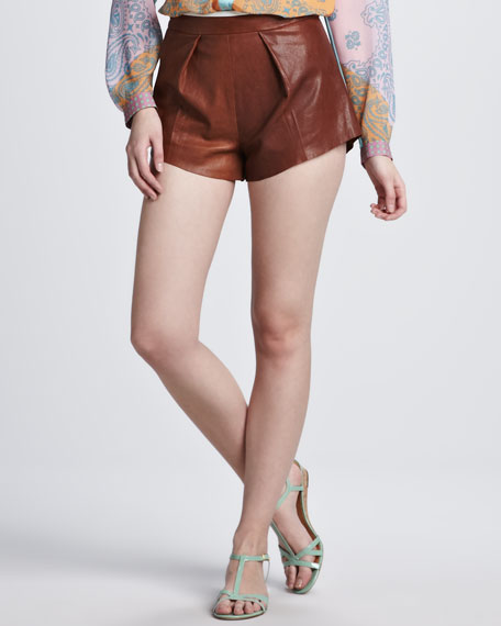 Pintuck-Front Leather Shorts