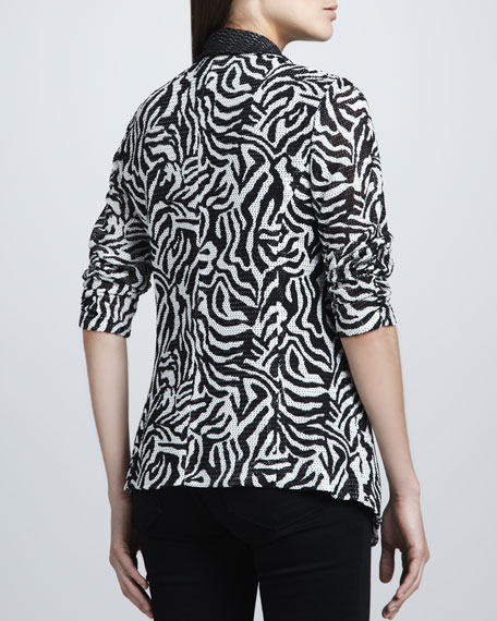 Animal-Print Cardigan Jacket