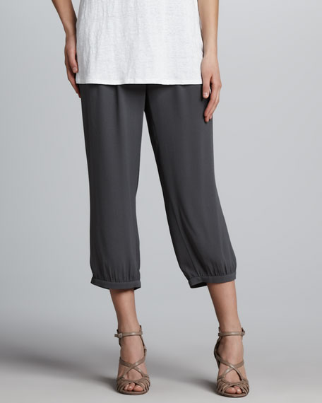 Silk Georgette Cropped Pants