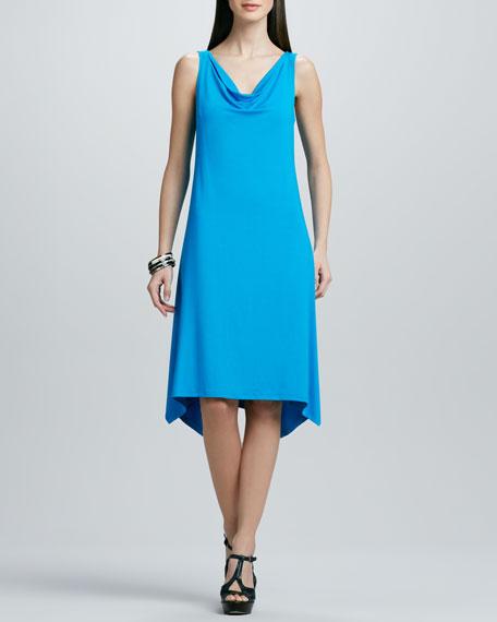 Washable Cowl-Neck Jersey Dress, Petite