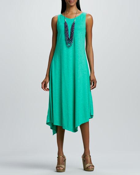Slub V-Neck Handkerchief-Hem Dress