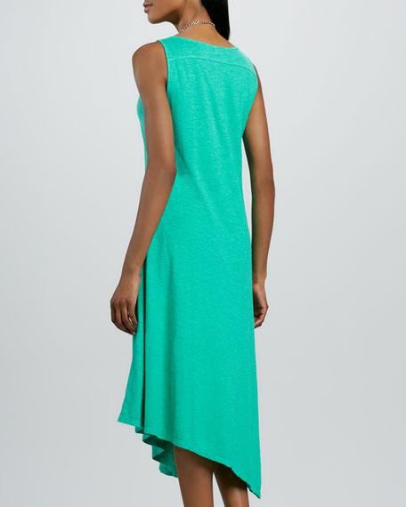 Slub V-Neck Handkerchief-Hem Dress, Petite