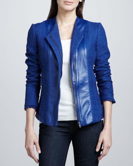 Leather-Front Tweed Jacket
