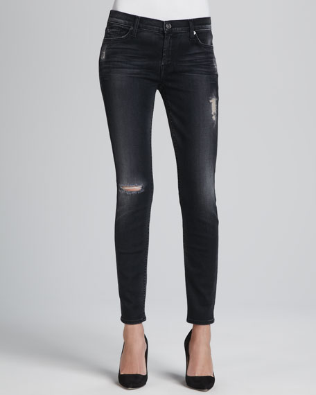 Skinny Blue Black Destroyed Jeans