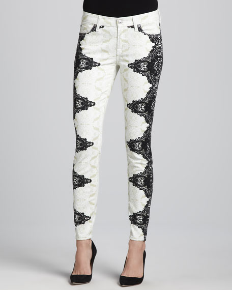 7 For All Mankind Lace-Printed Skinny Jeans