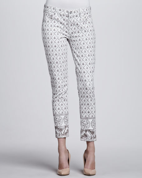Photo-Embellished Slim Cigarette Jeans