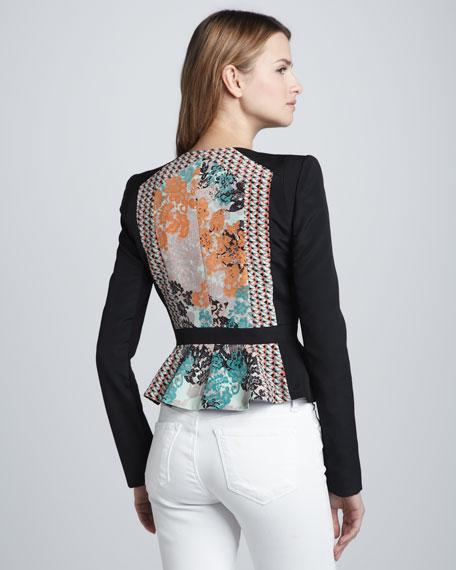 Printed Zip-Front Wrap Jacket