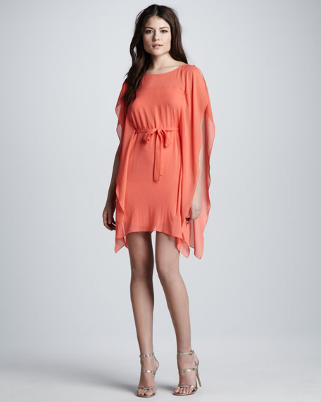Tie-Front Flutter-Sleeve Dress