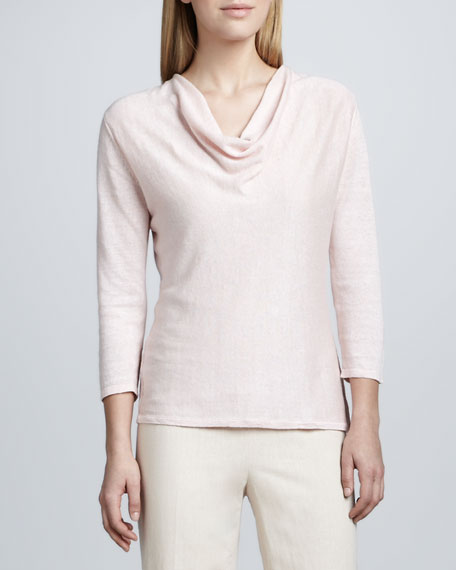LINEN COWL NECK SWEATER