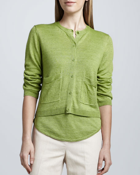 Linen Cropped Boxy Cardigan