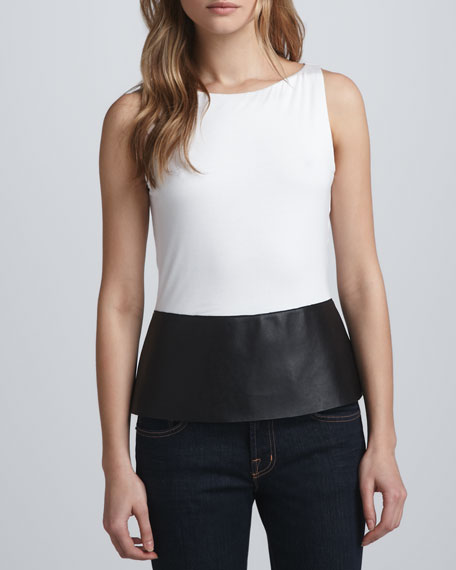 Faux-Leather Peplum Top