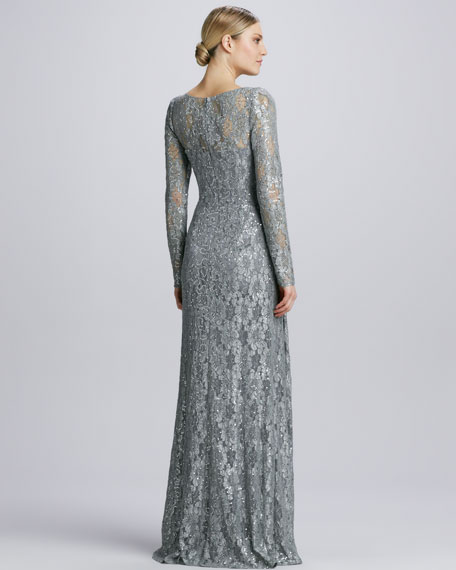 Illusion Sequined Lace Overlay Gown