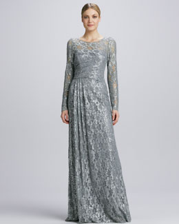 David Meister Illusion Sequined Lace Overlay Gown