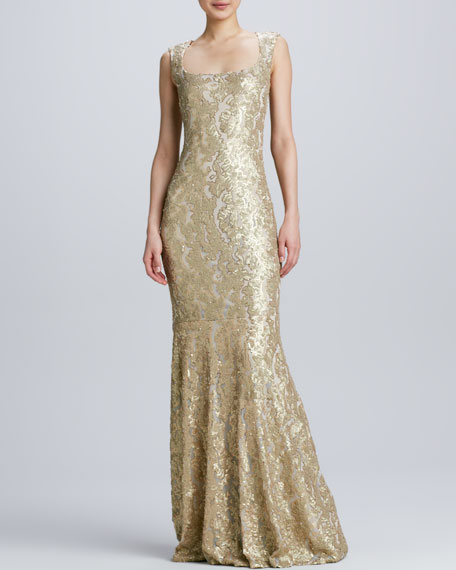 Sleeveless Gown with Lace Overlay