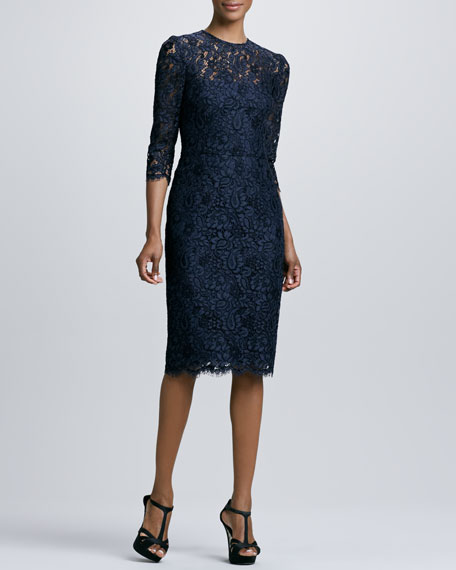 Jewel-Neck Lace Cocktail Dress