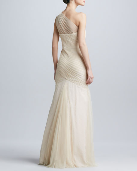 One-Shoulder Tulle Gown