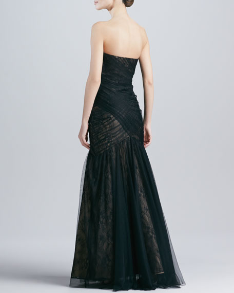 Strapless Lace & Tulle Gown