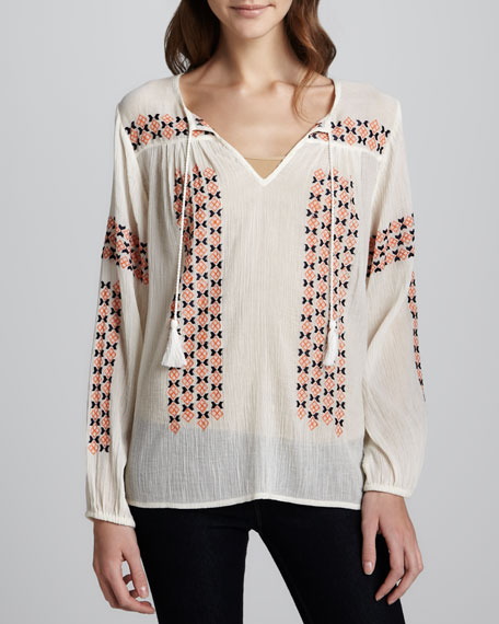 Nirageo Embellished-Stripe Blouse
