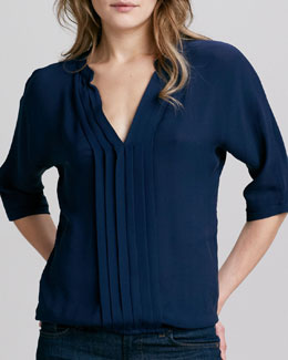 Joie Marru Split-Neck Silk Top