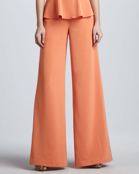 Wide-Leg Georgette Pants