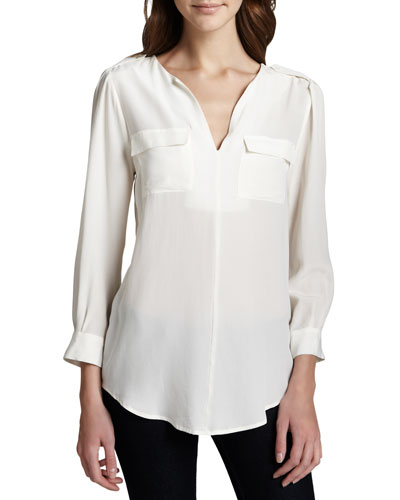 Joie Marlo Silk Double-Pocket Top, Porcelain