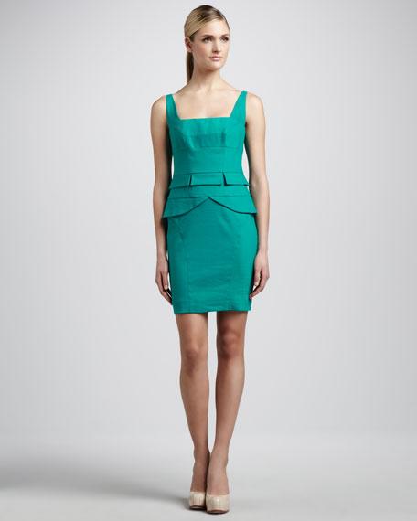 Square-Neck Peplum Dress