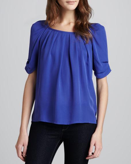 Eleanor Gathered Silk Blouse, Nile Blue