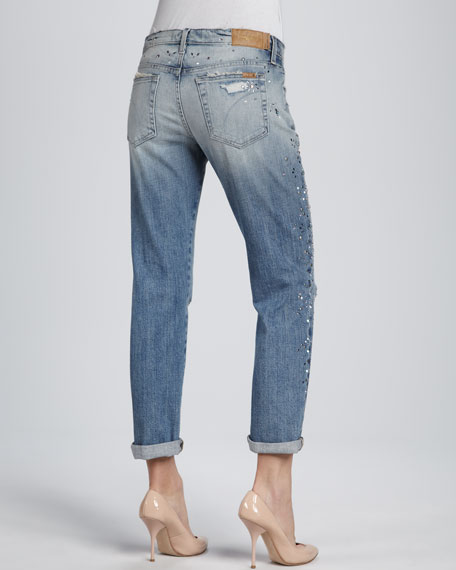 Kerilee Easy High Water Jeweled Distressed Jeans
