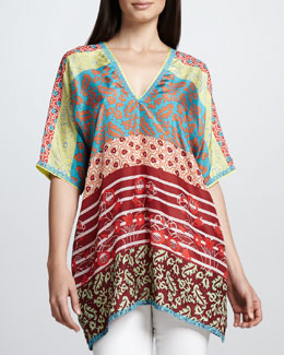 Johnny Was Collection Multi-Print Triangle-Back Top, Women's