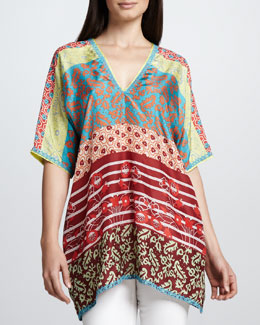 Johnny Was Collection Multi-Print Triangle-Back Top