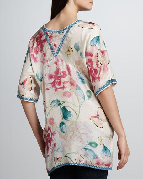 Multi-Print Silk Georgette Top, Women's