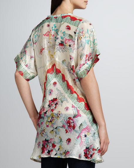 Biya Flower-Print Silk Tunic, Women's