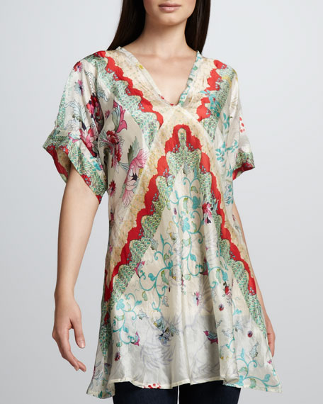 Biya Flower-Print Silk Tunic, Women's
