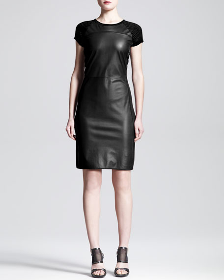 Leather-Front Knit Dress