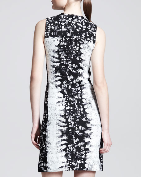 Paneled Abstract-Print Sheath Dress