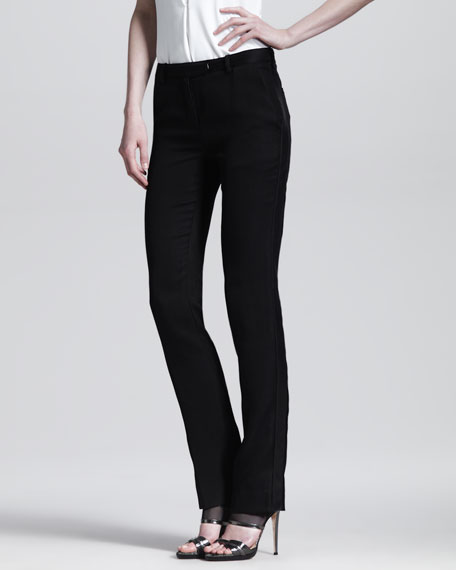 Slim Leather-Stripe Tuxedo Trousers