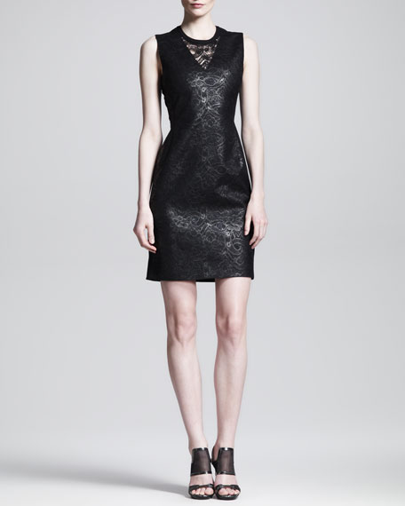 Lace-Front Shift Dress