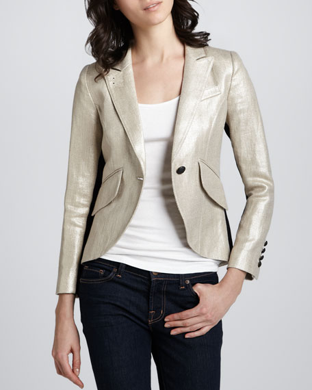 Metallic Tuxedo-Stripe Blazer