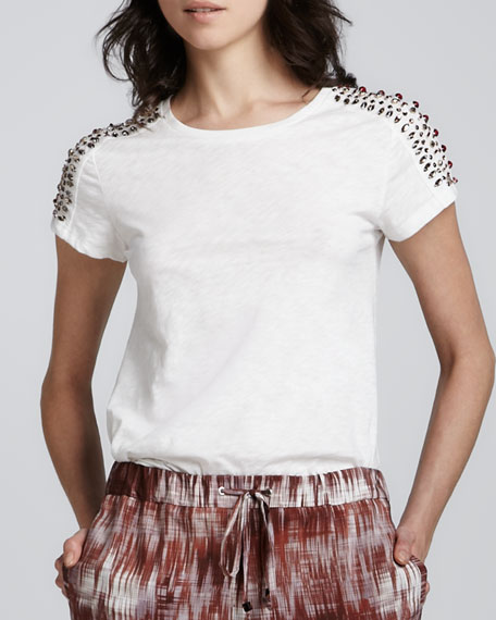 Monique Bead-Shoulder T-Shirt
