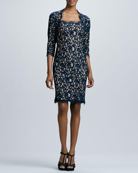 Tadashi Shoji Three-Quarter Cocktail Dress